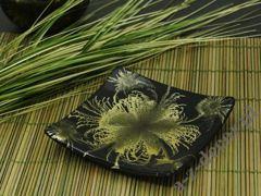 Black green ceramic plate 14x14x2cm [AZ01424]