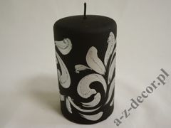 Black velvet pillar candle 9x15cm [AZ01988]
