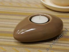 Brown ceramic T-light holder 12cm [AZ02036]