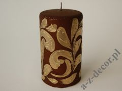 Brown velevt pillar candle 9x15cm [AZ01986]