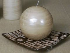 Light grey brushed ball candle 10cm [AZ02059]