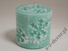 Pillar candle with snowflakes 10x10cm [AZ02150]