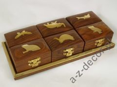 Wooden tray with 6 boxes 21x10x4cm [AZ01582]