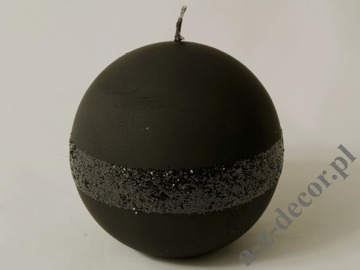 Black velvet ball candle 10cm [AZ01785]