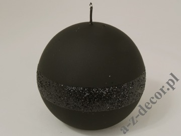 Black velvet ball candle 12cm with glitter strip [AZ01784]