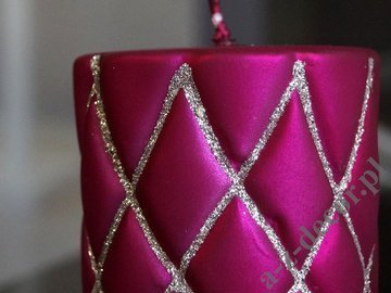 Cerise velvet pillar candle with glitter 10cm [AZ01995]