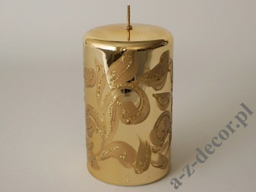Gold metallic pillar candle with glitter decoration 15cm [AZ01989]