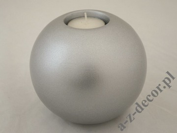Mat silver ceramic T-light holder 12,5cm [AZ02321]
