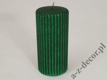 Pillar candle with green ribs 7x15cm [AZ01740]