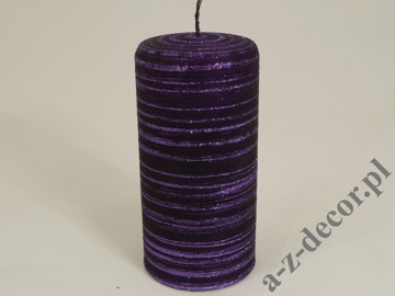 Purple velvet brushed pillar candle 7x15cm [AZ01748]