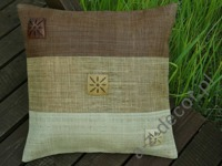 Raffia cushion cover 45x45cm with coco design [AZ00020]