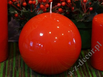 Red lacquered ball candle 12cm [AZ01768]