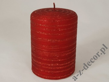Red velvet brushed pillar candle 7x10cm [AZ01743]