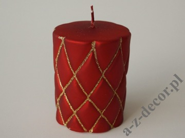 Red velvet pillar candle 10cm with gold glitter [AZ01996]