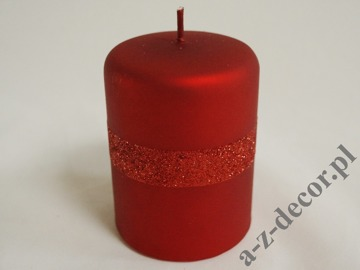 Red velvet pillar candle with glitter 10cm [AZ01990]