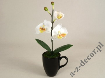 White artificial Phalaenopsis in cup 36cm [AZ01138]
