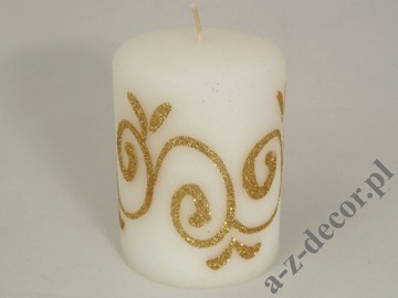White velvet pillar candle 10cm with glitter decoration [AZ01725]