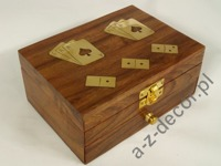 Wooden box w/domino+cards 15x11x6cm [AZ01561]