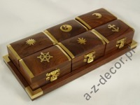 Wooden tray + 6 boxes 21x10x4cm [AZ01584]