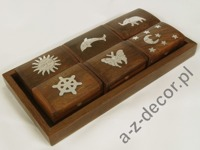 Wooden tray with 6 boxes 20x10x2,5cm [AZ01555]