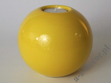 Yellow ceramic T-light holder 12,5cm [AZ02395]