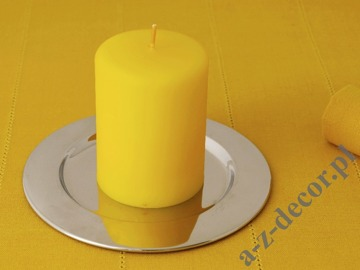 Yellow velvet pillar candle 7x10cm [AZ02046]