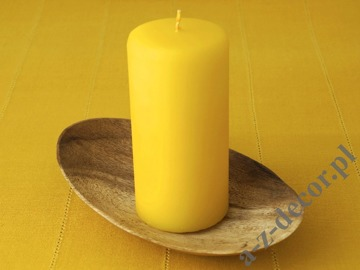 Yellow velvet pillar candle 7x15cm [AZ02045]