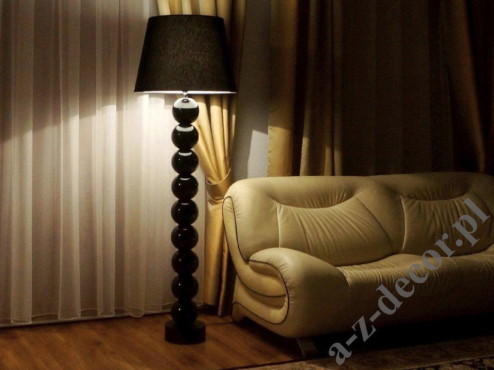 Lampa Podłogowa Z Kulami Do Salonu Perla Ix Tb Czarna 55x170cm